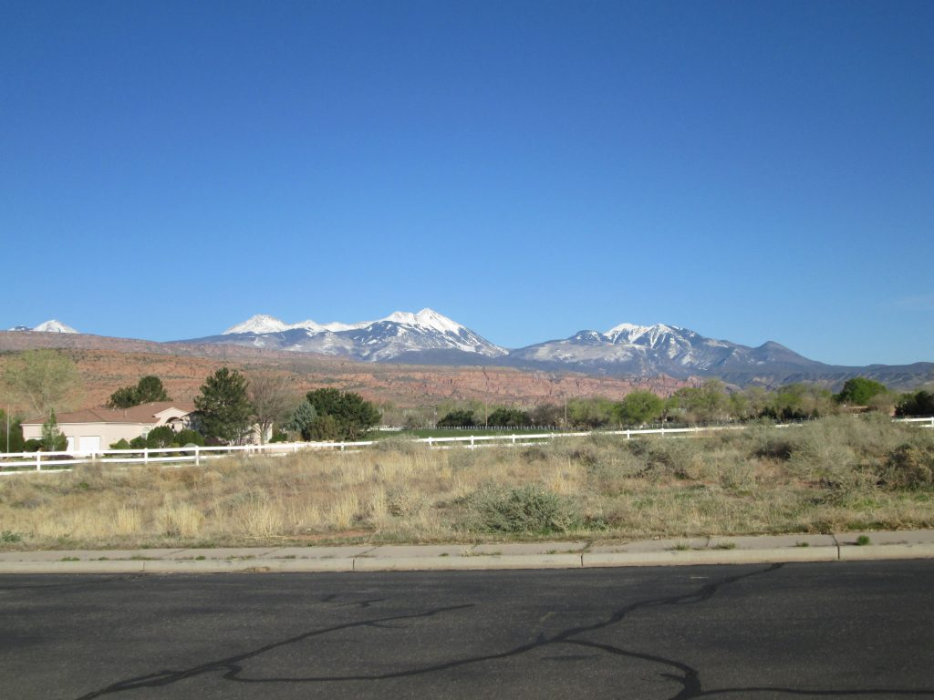 Moab Condo Reviews - View of La Sal Mountains From the Condo Complex April 2020